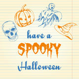 Halloween-krabbel - pompoen, spook, hoed en schedel Stock Fotografie