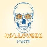 Halloween-krabbel - schedel en pompoenen Stock Foto's