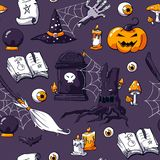 Halloween-krabbelbeeld op violette achtergrond wordt geplaatst die Naadloos Halloween-krabbelpatroon De vector getrokken hand hee stock illustratie
