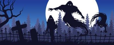 Halloween krajobraz z widmową postacią i cmentarnianym b royalty ilustracja