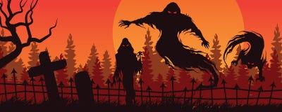 Halloween krajobraz z widmową postacią A i cmentarzem ilustracji