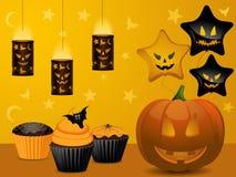 Halloween-Kuchenpartyhintergrund Lizenzfreie Stockfotos