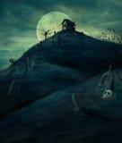 Halloween kyrkogård royaltyfri illustrationer