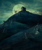 Halloween kyrkogård Arkivfoto
