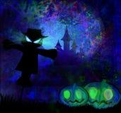 Halloween läskig scarecrow stock illustrationer