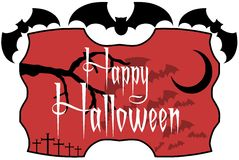 Halloween label with bats Stock Photography