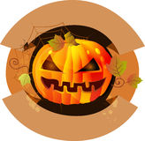 Halloween label with pumpkin Royalty Free Stock Photography