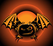 Halloween label with pumpkin wings Royalty Free Stock Photo