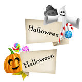 Halloween labels with cartoon pumpkin head and gho Royalty Free Stock Photography
