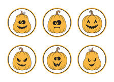 Halloween labels set. Set of round Halloween tags and labels with spooky pumpkins Royalty Free Stock Images
