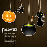Halloween labels on wood Stock Image