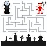 Halloween-Labyrint - Onverbiddelijke Maaimachine & Duivel vector illustratie