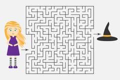 Halloween-Labyrinthspiel, helfen der Hexe, einen Ausweg des Labyrinths, nette Zeichentrickfilm-Figur, Vorschularbeitsblatttätigke vektor abbildung