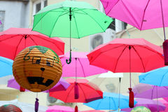 Halloween lampion. And umbrellas on street royalty free stock image
