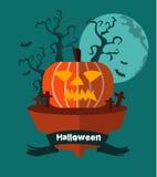 Halloween-land Nachtachtergrond met het Grijnzen pompoen Royalty-vrije Stock Foto