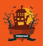 Halloween-land Nachtachtergrond met kasteel Royalty-vrije Stock Foto