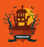 Halloween land. Night background with castle. Royalty Free Stock Photo