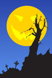 Halloween_landscape. A crooked tree with funeral and moon Royalty Free Stock Photography