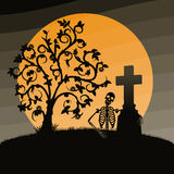 Halloween landscape. With skeleton and falls Royalty Free Stock Image