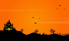 Halloween landscape background with castle Stock Photos