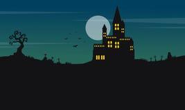 Halloween landscape castle and moon Stock Photos