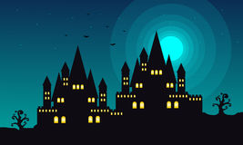 Halloween landscape with castle at night Royalty Free Stock Image