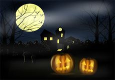 Halloween landscape with castle, pumpkins and cemetery. Vector illustration.  Royalty Free Stock Image