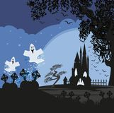Halloween landscape with ghostly figure and cemetery. Vector Illustration Stock Images