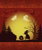 Halloween landscape, ghosts, pumpkins and witch Stock Images