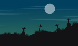 Halloween landscape with grave and moon Stock Photography