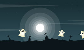 Halloween landscape graveyard with ghost Royalty Free Stock Image