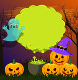 Halloween landscape with green speech bubble Royalty Free Stock Photos