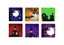 Halloween landscape icons set Stock Photography