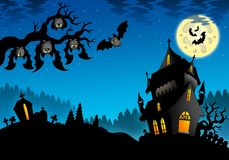 Halloween landscape with mansion. Color illustration Stock Photos