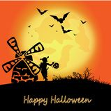 Halloween landscape with a mill, moon, boy and pumpkin and the inscription of happy halloween vector illustration