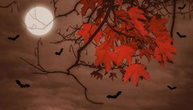 Halloween landscape with moon Stock Image