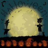Halloween landscape, moon and pumpkins Royalty Free Stock Images