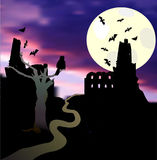 Halloween landscape with moonlight, castle, bats, tree, owl and sunset. Dark scary castle with tower, flying bats and road Stock Photo