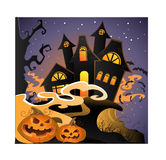 Halloween landscape with pumpkins Stock Image