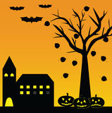 Halloween landscape. With pumpkins and bats tree castle Stock Photos