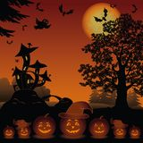Halloween landscape with pumpkins Jack-o-lantern Stock Photo