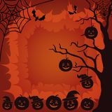 Halloween landscape, pumpkins, tree and spider Royalty Free Stock Photos