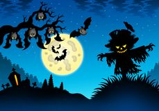 Halloween landscape with scarecrow stock illustration