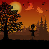 Halloween Landscape with Scarecrow Royalty Free Stock Images