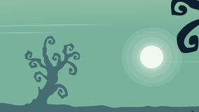 Halloween landscape silhouette of animation