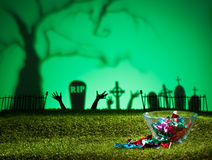 Halloween landscape with sweets Stock Images