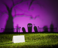 Halloween landscape with table card. Halloween landscape with tree graveyard and name card Stock Photo
