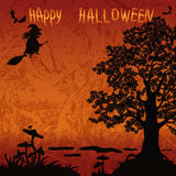Halloween Landscape with Witch Royalty Free Stock Photo