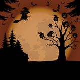 Halloween landscape with witch and pumpkins Stock Images