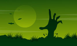 Halloween landscape with zombie collection Royalty Free Stock Photos